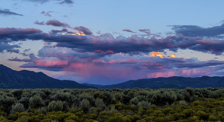Sunset Photograph - Eastern Sky At Sunset - Taos New Mexico by Debra Martz