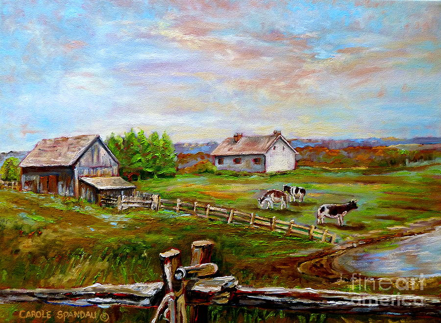 Quebec Painting - Eastern Townships Quebec Country Scene by Carole Spandau