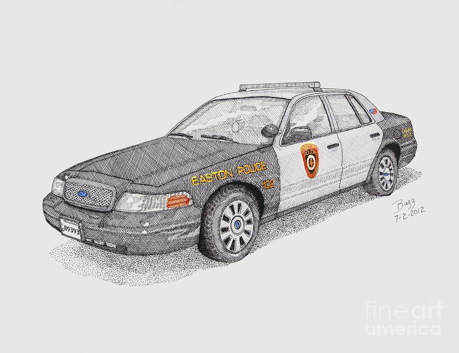 Easton Maryland Police Car Drawing By Calvert Koerber