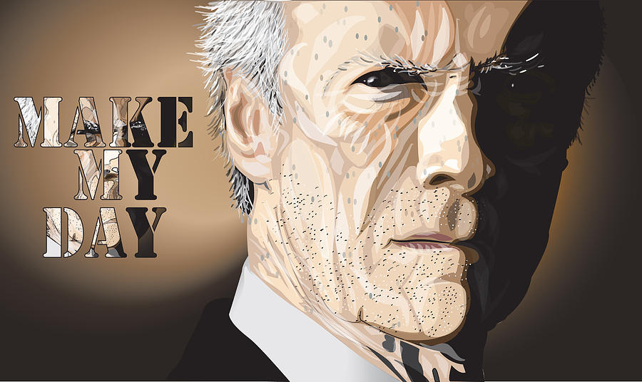 Clint Digital Art - Eastwood by Mike  Haslam