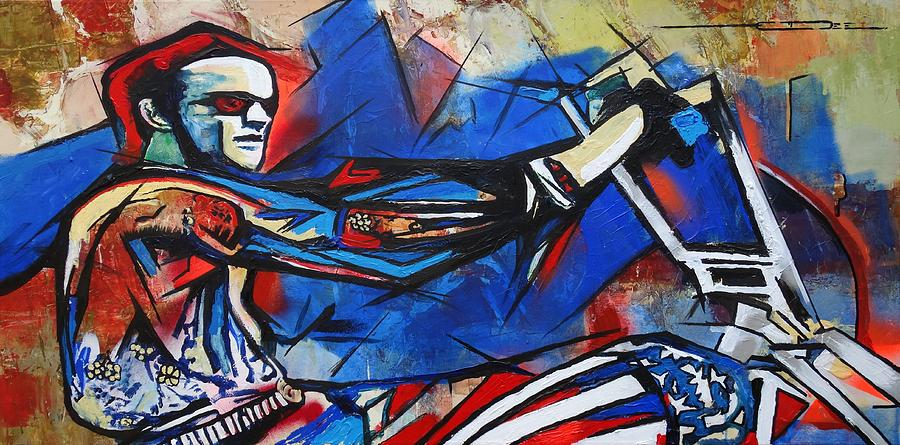 Peter Fonda Painting - Easy Rider Captain America by Eric Dee