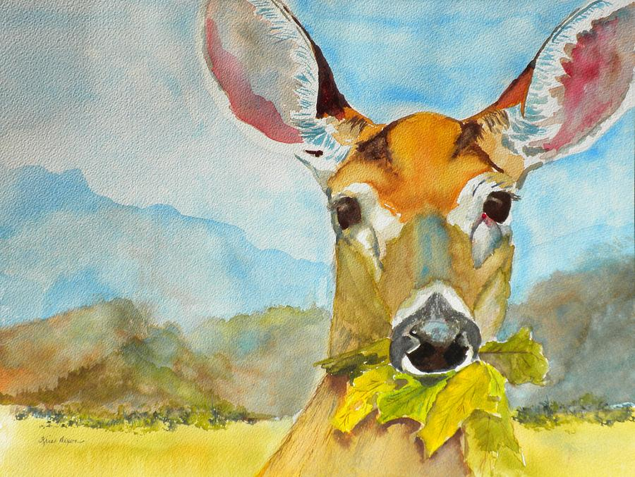 White Tail Deer Painting - Eat Your Greens by Kris Dixon