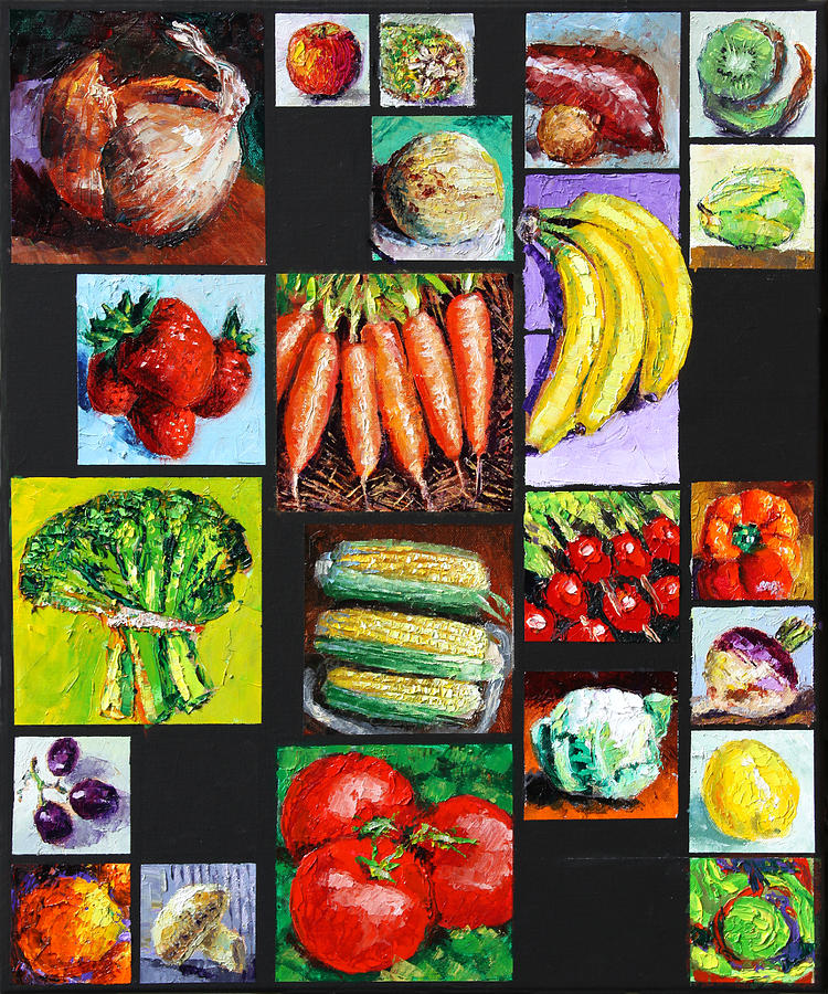 Vegetables Painting - Eat Your Vegies And Fruit by John Lautermilch