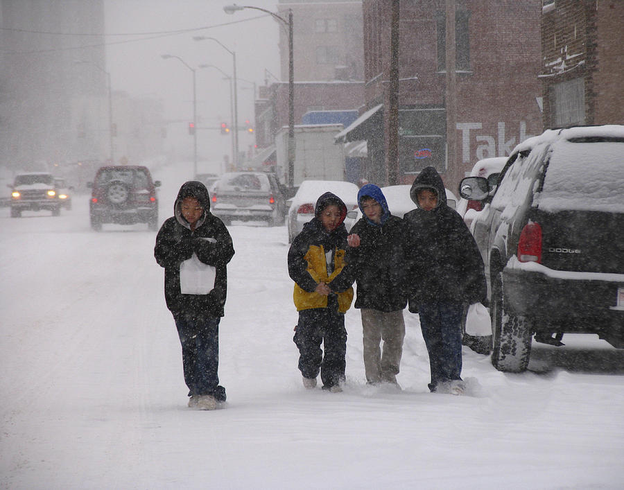Children Photograph - Eating Doughnuts In The Snowstorm by Don Wolf