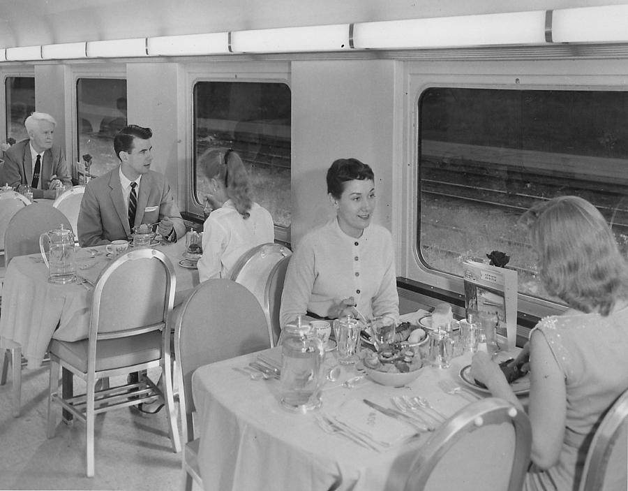 Passenger Cars Photograph - Eating in Dining Car Rebuilt for Bilevel Equipment - 1958 by Chicago and North Western Historical Society