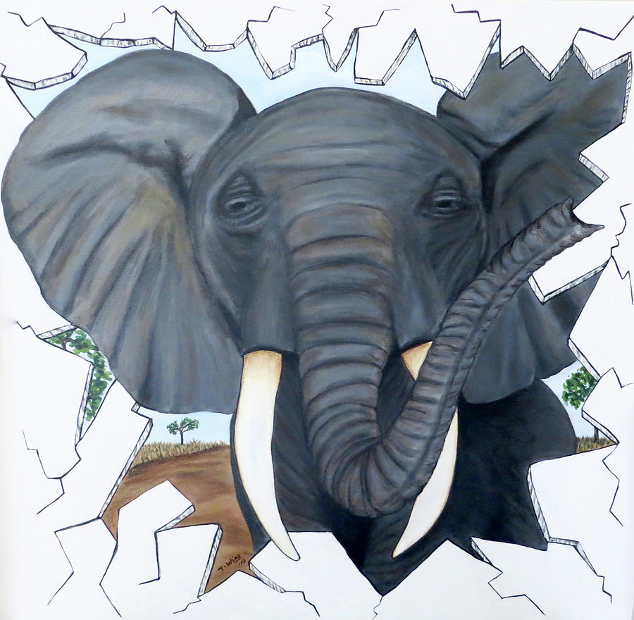 Eavesdropping Elephant by Teresa Wing