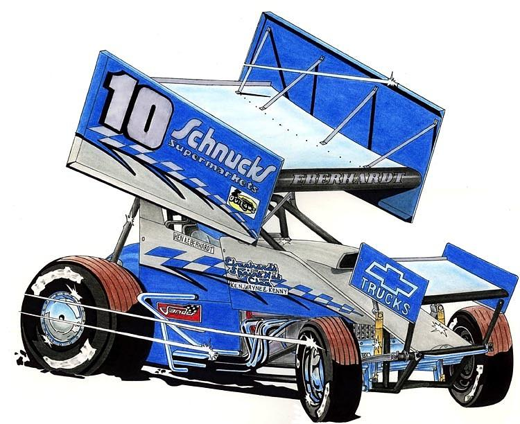 Racing Drawing - Eberhardt Sprinter by Lyle Brown