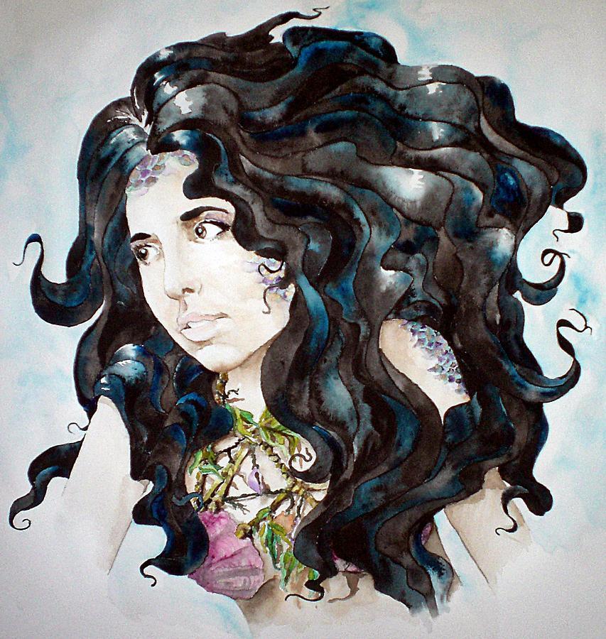 Mermaid Painting - Ebony Mermaid by Theresa Higby