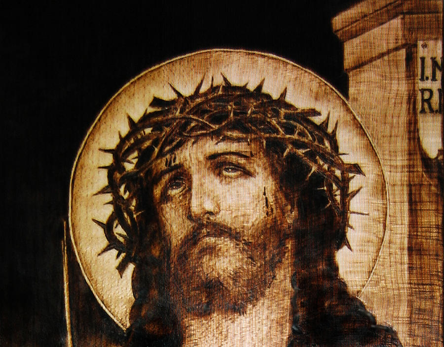 Reproduction Pyrography - Ecce Homo - Detail by Dino Muradian