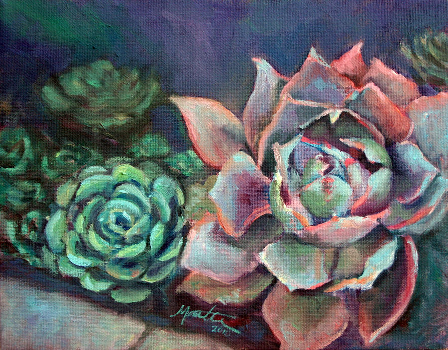 Plant Painting - Echeveria by Athena Mantle