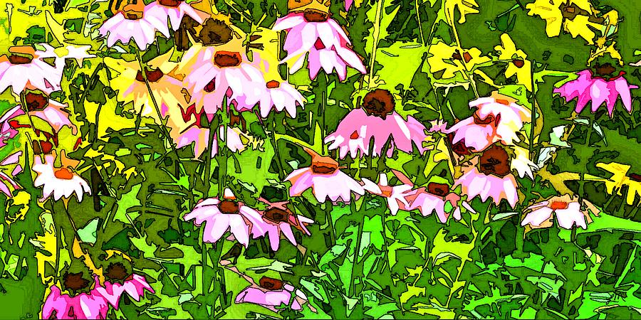 Contemporary Digital Art - Echinacea Imagined by Linda Mears