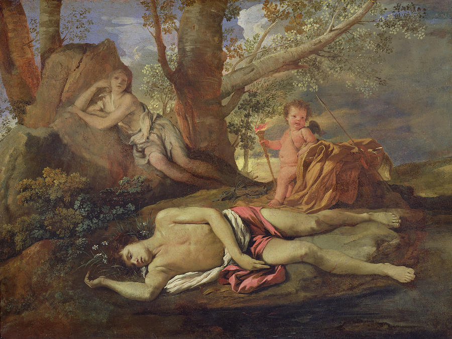 Echo Painting - Echo And Narcissus  by Nicolas Poussin