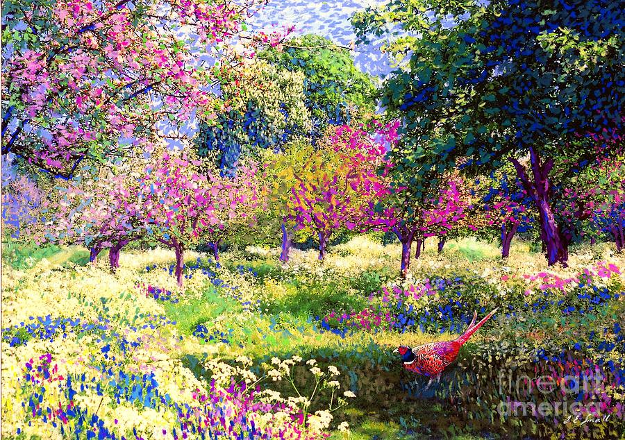 Echoes From Heaven, Spring Orchard Blossom And Pheasant Painting