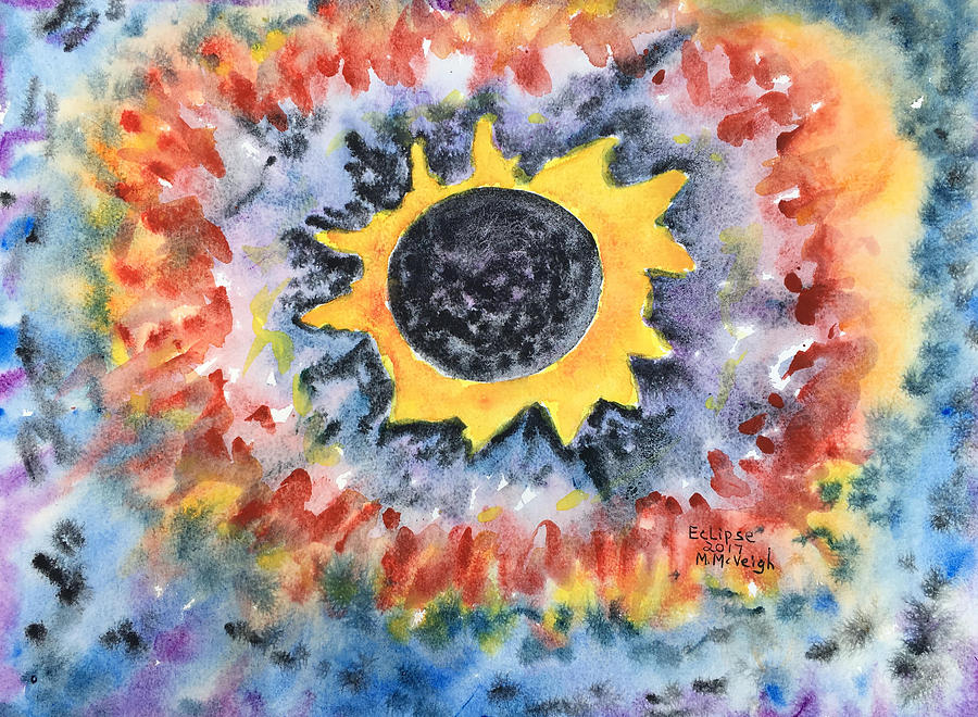 Watercolor Painting - Eclipse 2017 by Marita McVeigh