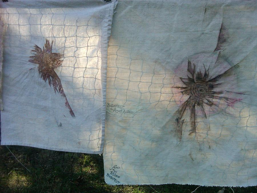Eclipse And Friend On Net Tapestry - Textile by Sandra Langley