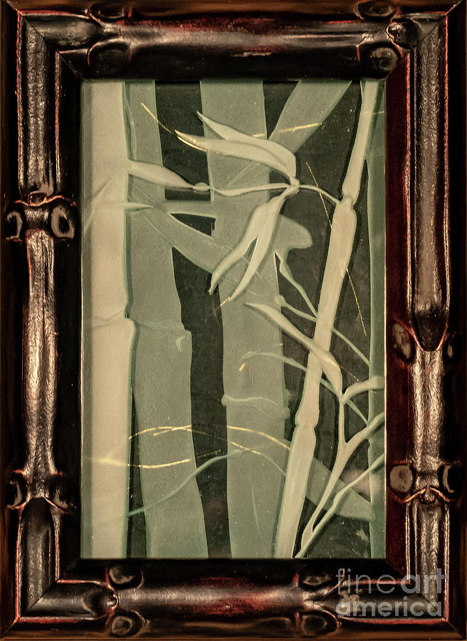 Bamboo Glass Art - Eclipse Bamboo with Frame by Alone Larsen
