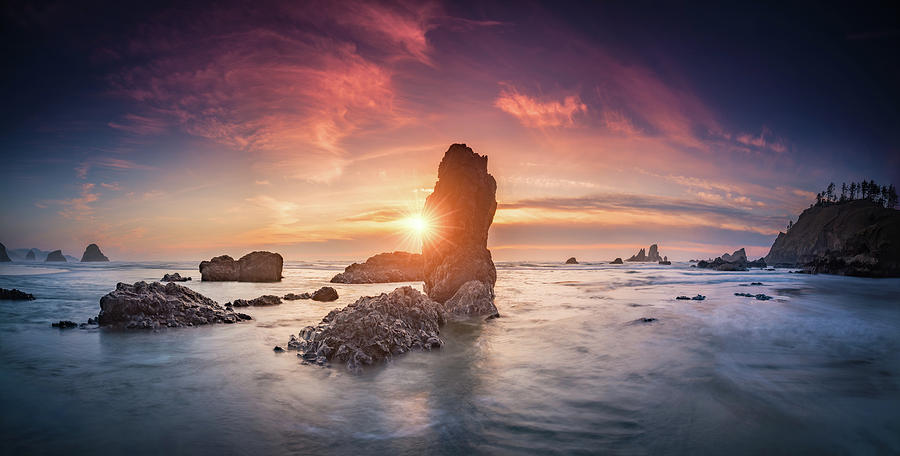 Ecola State Park Beach Sunset Pano Photograph