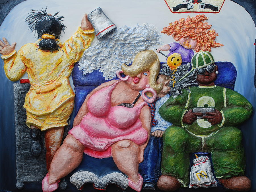 Airplane Painting - Economy Class by Alison  Galvan