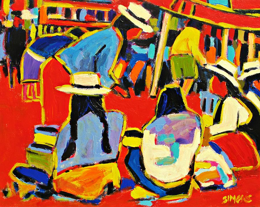 Paintings Painting - Ecuador Street Market by Brian Simons