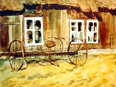 Farm Barn Painting - Ed Hay Rake by Helen Hickey