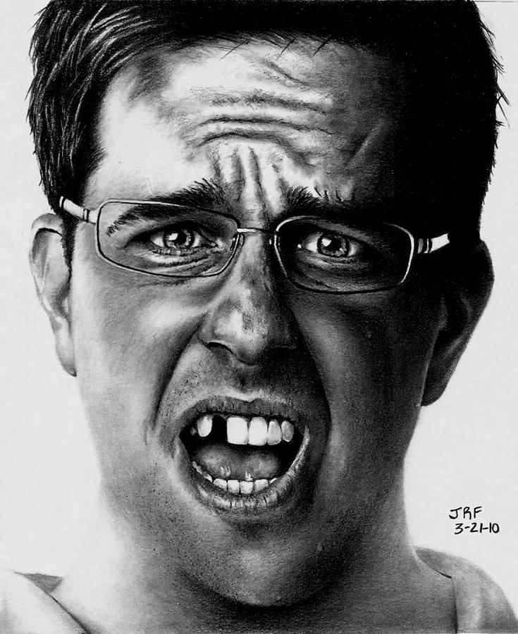 Hangover Drawing - Ed Helms  by Rick Fortson