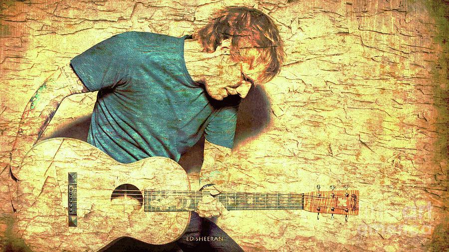 Ed Sheeran Digital Art - Ed Sheeran And Guitar by Drawspots Illustrations