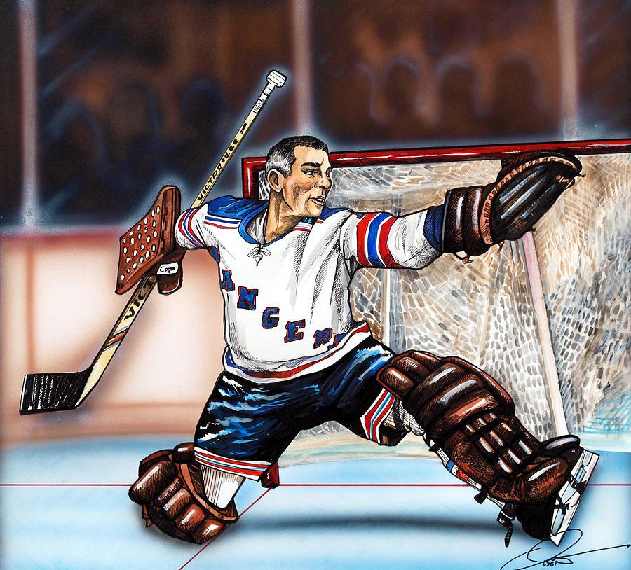 New York Rangers Painting - Eddie Giacomin by Dave Olsen