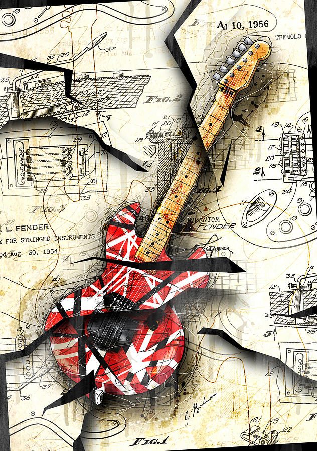 Guitar Digital Art - Eddies Guitar by Gary Bodnar