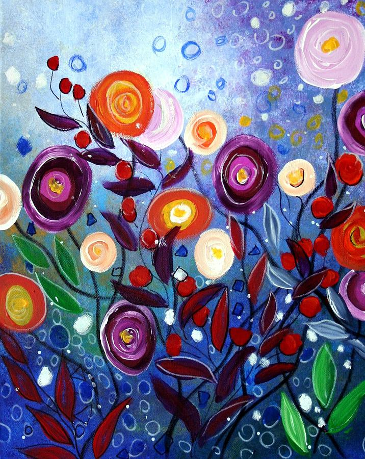 Eden flowers painting by luiza vizoli for Modern flower paintings