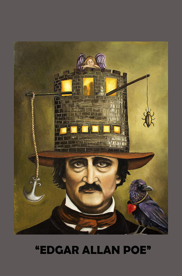 Poe Painting - Edgar Allan Poe With Lettering by Leah Saulnier The Painting Maniac