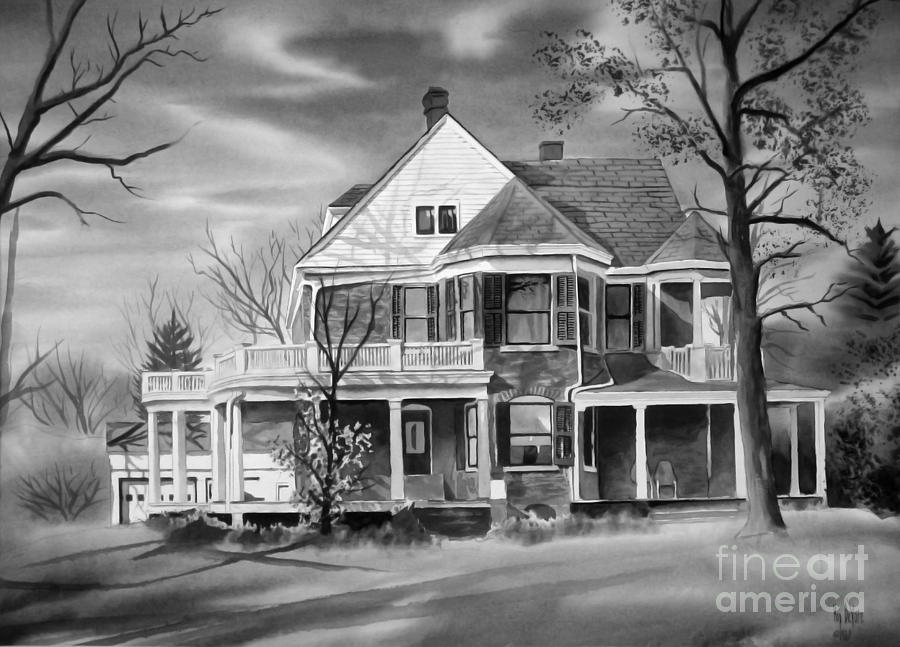 Grayscale Painting - Edgar Home Bw by Kip DeVore