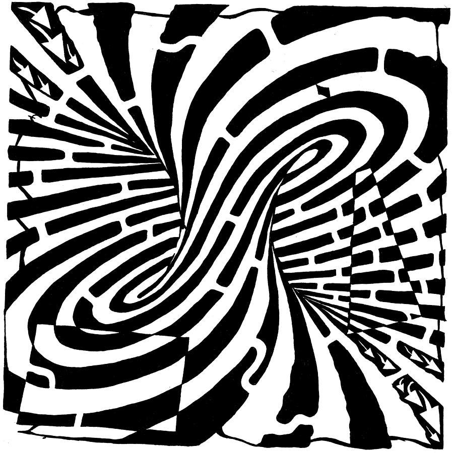 Mobius Drawing - Edge Of A Mobius Strip Maze by Yonatan Frimer Maze Artist