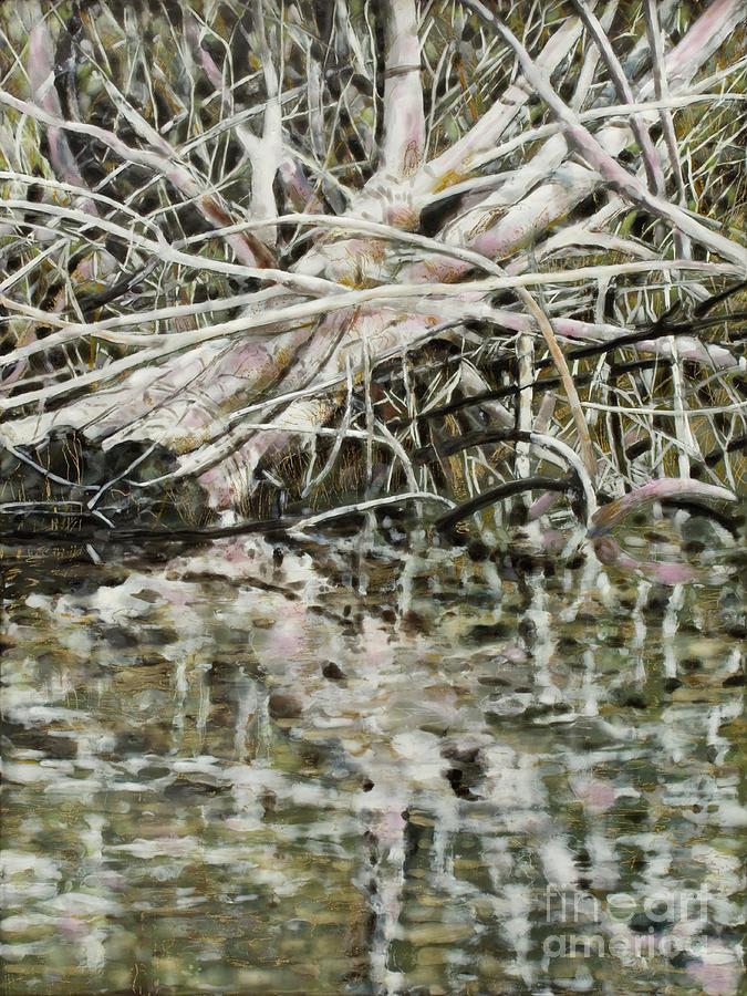 Encaustic Mixed Media - Edge Of Smith Lake by Andrea Benson