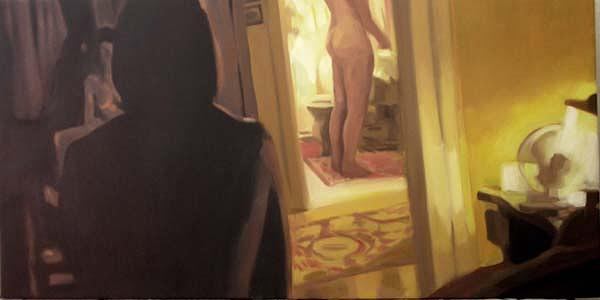 Figurative Painting - Edge Of The Bed 2 by Merle Keller