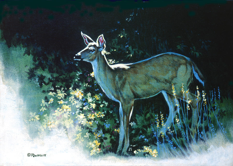 White-tailed Deer Painting - Edge Of The Wood by Richard De Wolfe