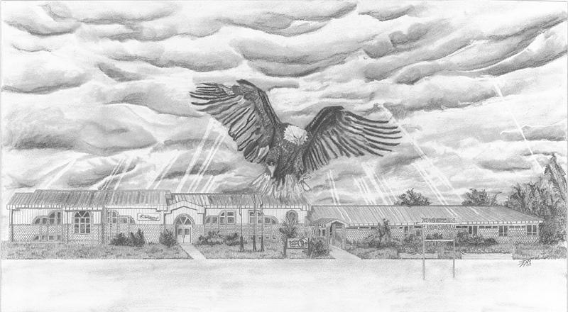 Eagle Drawing - Edgerton School by Dean Herbert