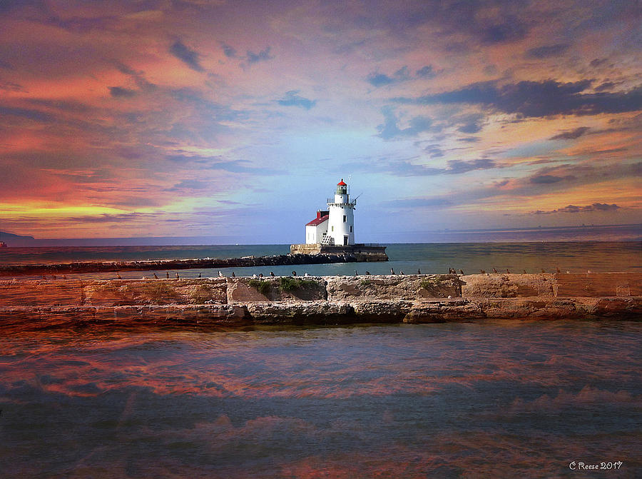 Ohio Photograph - Edgewater Lighthouse Sunset by Reese Lewis
