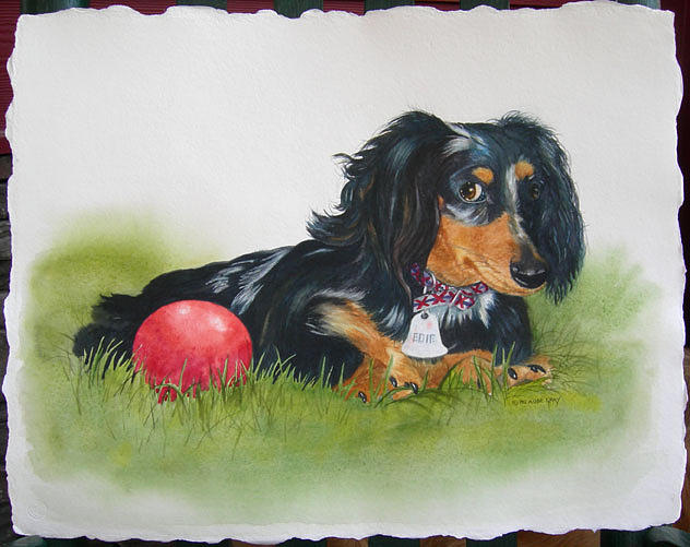 Animal Portrait Painting - Edie by Pat Aube Gray