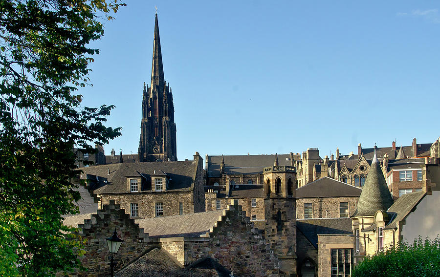 Edinburgh Rooftops and Highland Tolbooth St John's Church. by Elena Perelman