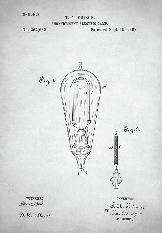 Edison Lamp Patent Digital Art