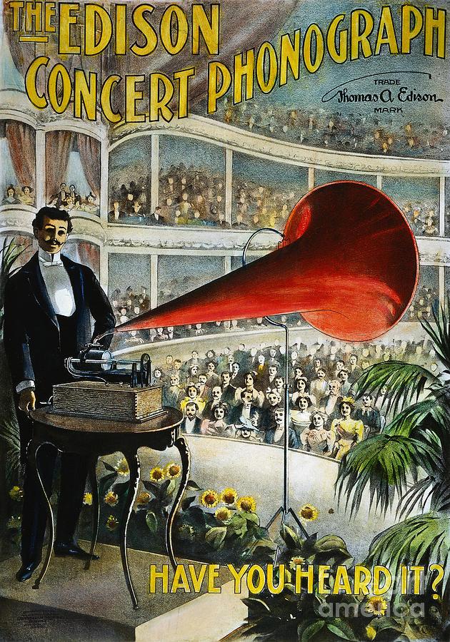 1899 Photograph - Edison Phonograph Ad, 1899 by Granger