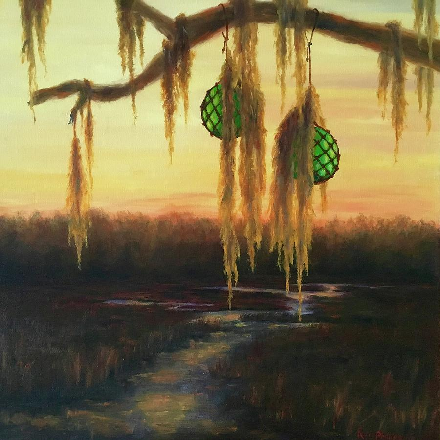 Creek Painting - Edisto Island Glass Floats by Rosie Phillips