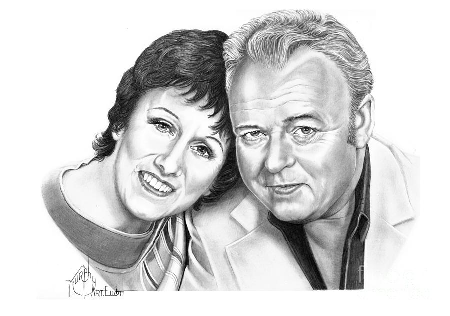 Pencil Drawing - Edith And Archie Bunker by Murphy Elliott