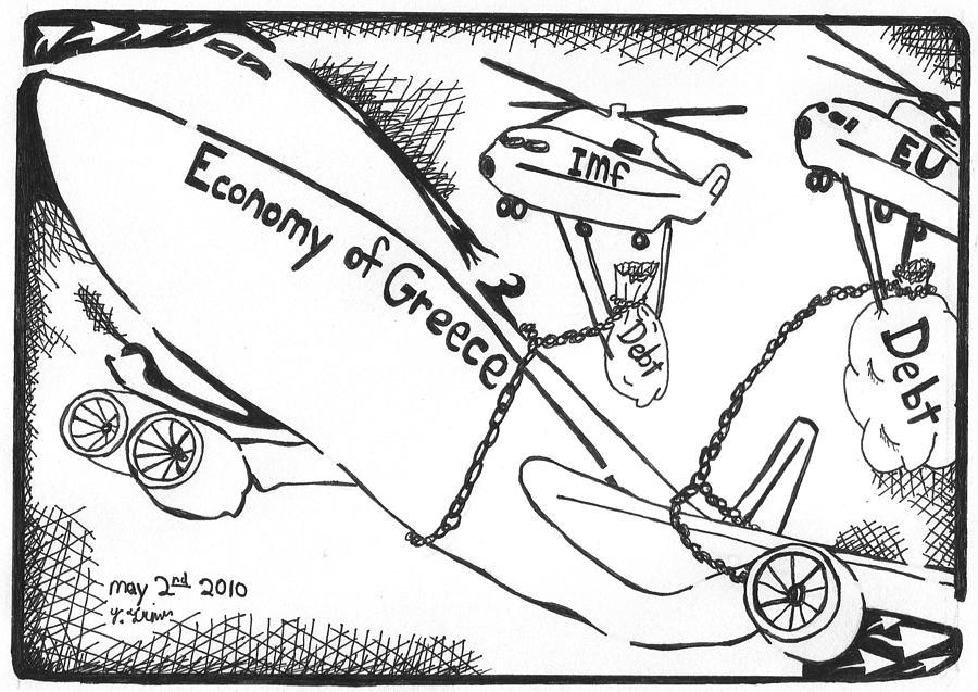 Economy Drawing - Editorial Maze Cartoon - Economy Of Greece By Yonatan Frimer by Yonatan Frimer Maze Artist