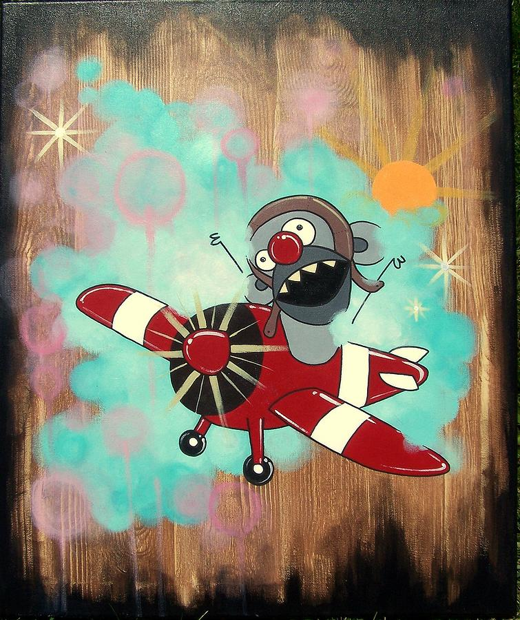 Monkey Painting - Edmond Dans Son Avion by Veronique Perron