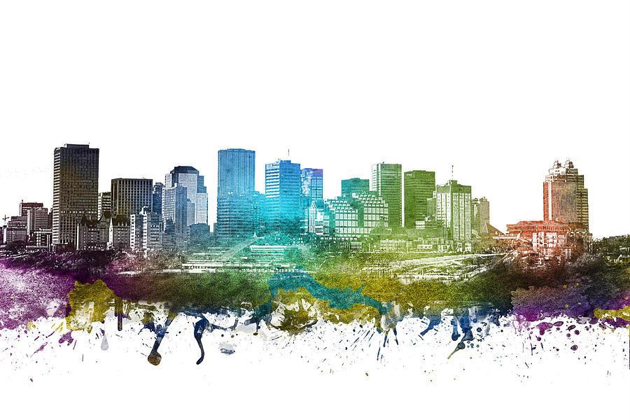 Edmonton Digital Art - Edmonton Cityscape 01 by Aged Pixel