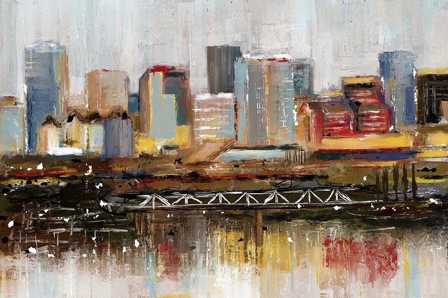 Edmonton Skyline Abstract1 by Eduardo Tavares