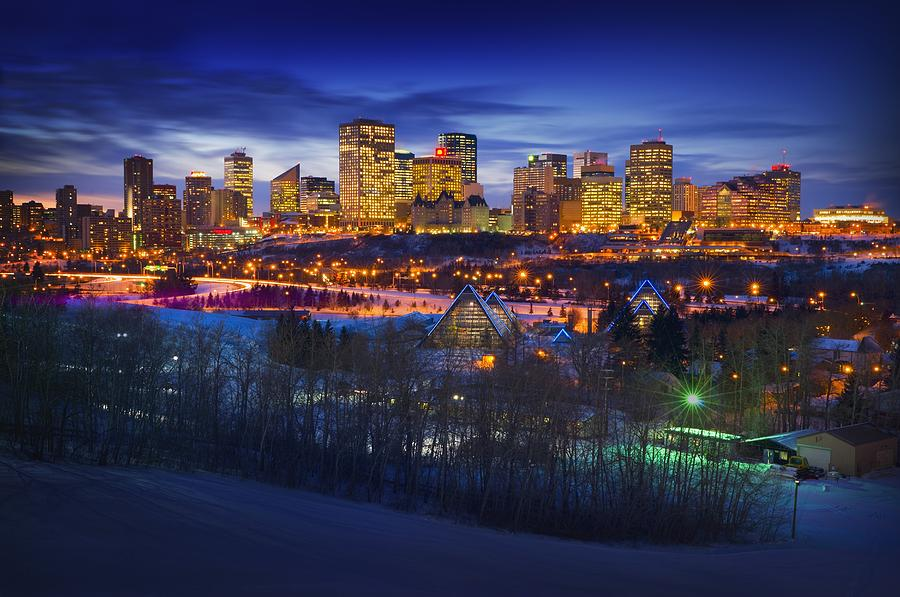 Scenery Photograph - Edmonton Winter Skyline by Corey Hochachka