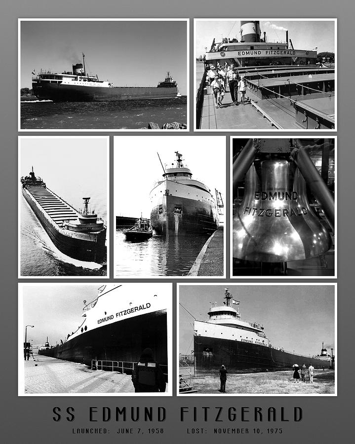 Edmund Fitzgerald Photograph - Edmund Fitzgerald Black And White by John Farr
