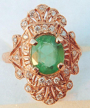 Edwardian Jewelry - Edwardian Deco Antique Style Rose Gold Ring by Michelle  Robison